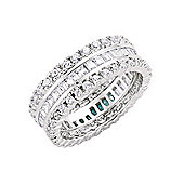 Jewelco London Rhodium-Plated Sterling Silver Eternity Ring Size