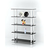 Black Glass & Stainless Steel Bookshelf Style Display Stand