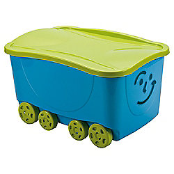 Smiley Face Wheeled Trunk with Lid - Blue