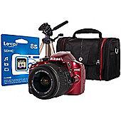 DS Nikon D3200 Red SLR Camera Kit inc 18-55mm VR Lens, 8Gb SD Card, Case & Tripod