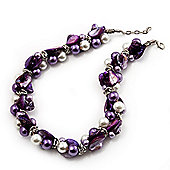 Exquisite Faux Pearl & Shell Composite Silver Tone Link Necklace (Purple & White) - 40cm Length/ 3cm Extension