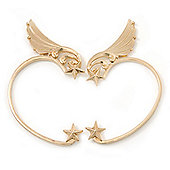 One Pair Wing & Star Ear Hook Cuff Earring In Gold Plating