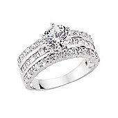 Rhodium-Coated Sterling Silver Dress Ring Size