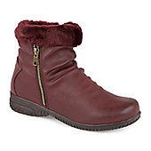 Pavers Ankle Boot with Slouch Effect & Trim - Burgundy
