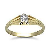 9 Carat Yellow Gold 4pts Gents Single Stone Diamond Ring