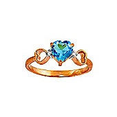 QP Jewellers Diamond & Blue Topaz Trinity Heart Ring in 14K Rose Gold