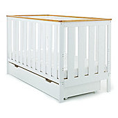 Obaby York Cot Bed & Under Drawer - White with Pine Trim