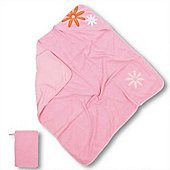 Baby Boum Melow Flower Hooded Towel & Wash Mitt (Gum)