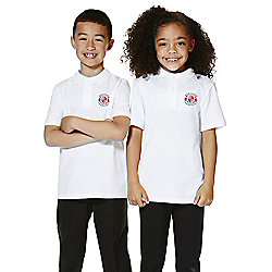 Unisex Embroidered School Polo Shirt years 09 - 10 White
