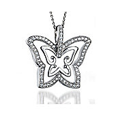 The REAL Effect Rhodium Coated Sterling Silver Cubic Zirconia Charm Pendant