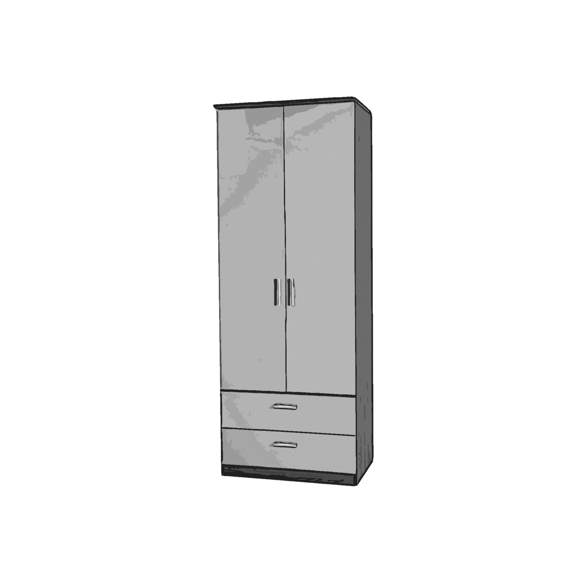 Welcome Furniture Mayfair Tall Wardrobe with 2 Drawers - Aubergine - Black - Black at Tesco Direct
