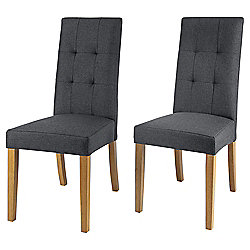 Genoa Pair of Charcoal Linen Effect Dining Chairs with Oak Legs