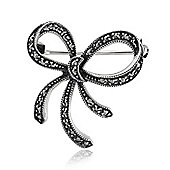 Gemondo Sterling Silver 0.42ct Marcasite Set Ribbon Design Brooch