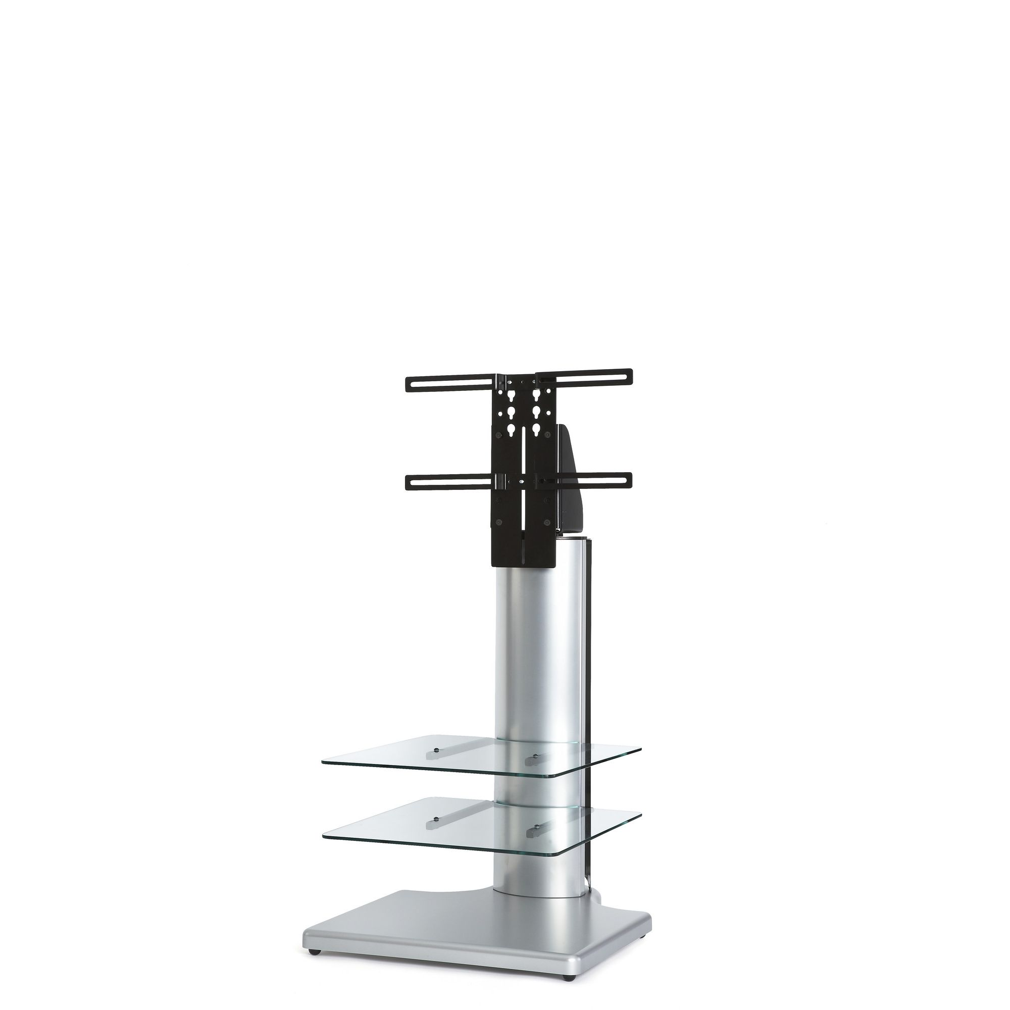 Off The Wall Origin 32'' Small Square TV Stand - Silver / Clear glass at Tesco Direct