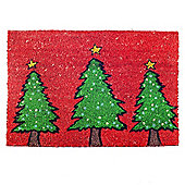 Red & Green Christmas Tree Design Festive Coir Doormat