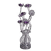 Aluminium Flower Table Lamp in Silver & Purple