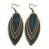 Vintage Dark Green/Brown Enamel 'Leaf' Drop Earrings In Bronze Tone - 7cm Length