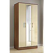 Birlea Lynx 3 Door Wardrobe with Mirror - Walnut and Cream
