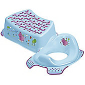 Happy Friends Hippo Toddler Toilet Training Seat & Step Stool Combo (Blue)
