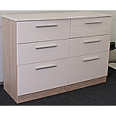 Altruna Chester 6 Drawer Chest - Cream / Light Oak