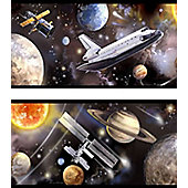 Space Mission and Planets Border