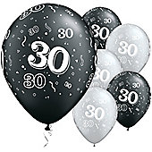 11' 30th Around Black & Silver (25pk)