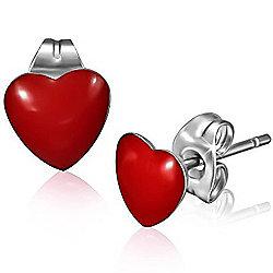 Urban Male Red Resin & Stainless Steel Heart Stud Earrings 7mm
