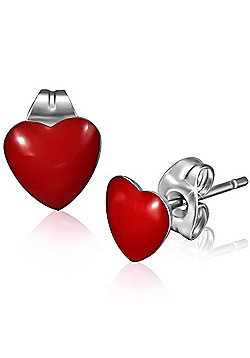Urban Male Red Resin & Stainless Steel Heart Stud Earrings 7mm