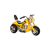 Kids 6V Chopper Style Ride On Bike - Yellow