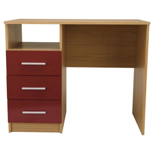 Jazz 3 Drawer Desk, Oak/Red Gloss