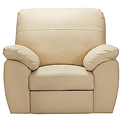 Alberta Leather Recliner Armchair, Ivory