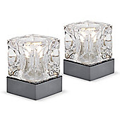 Pair of Glass Ice Cube Touch Table Lamps in Black Chrome