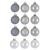 Set Of Twelve Glass Christmas Tree Baubles in Silver