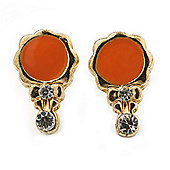Children's/ Teen's / Kid's Small Coral Enamel, Diamante 'Princess Mirror' Stud Earrings In Gold Plating - 12mm Length