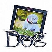 Metal Square Dog Photo Frame - Silver