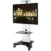 B-Tech White Cantilever TV Stand with Castors