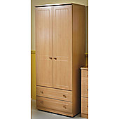Welcome Furniture Warwick Tall Wardrobe with 2 Drawers - Cream with Oak Finishing