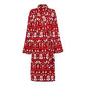 Linea Scandi Red Fleece Robe s/M )