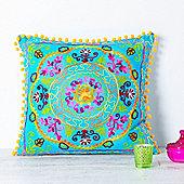 Suzani Embroidered Suzani Square Cushion - Turquoise