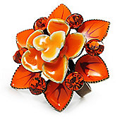 Bright Orange Crystal Enamel Cocktail Ring (Bronze Tone)