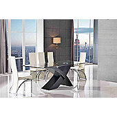 Valencia Glass & Black Oak 200 cm Dining Table & 6 Alisa Ivory Chairs