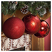 Christmas Baubles, Red, 3 pack