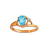 QP Jewellers Diamond & Blue Topaz Glow Ring in 14K Rose Gold