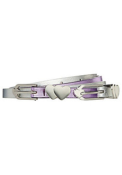 F&F 2 Pack of Shiny Skinny Belts - Silver & Purple