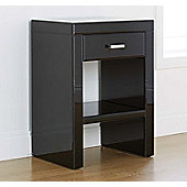 ValuFurniture Venetian 1 Drawer Bedside Table - Black Mirror Finish