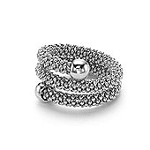 Rhodium Coated Sterling Silver Double Wrap Popcorn Bead Fashion Ring Size