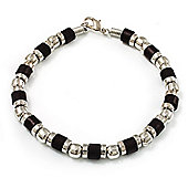 Unisex Black Resin & Silver Tone Metal Bead Bracelet - 17cm Length