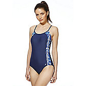 F&F Active Abstract Print Side Panel Cross-Back Swimsuit - Navy