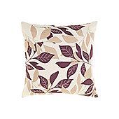 Linea Leaf Design Cotton Cushion, Purple