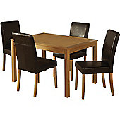 Oakmere Dining Set Natural Oak Veneer 4 xExpresso Brown PU Leather Dining Chairs